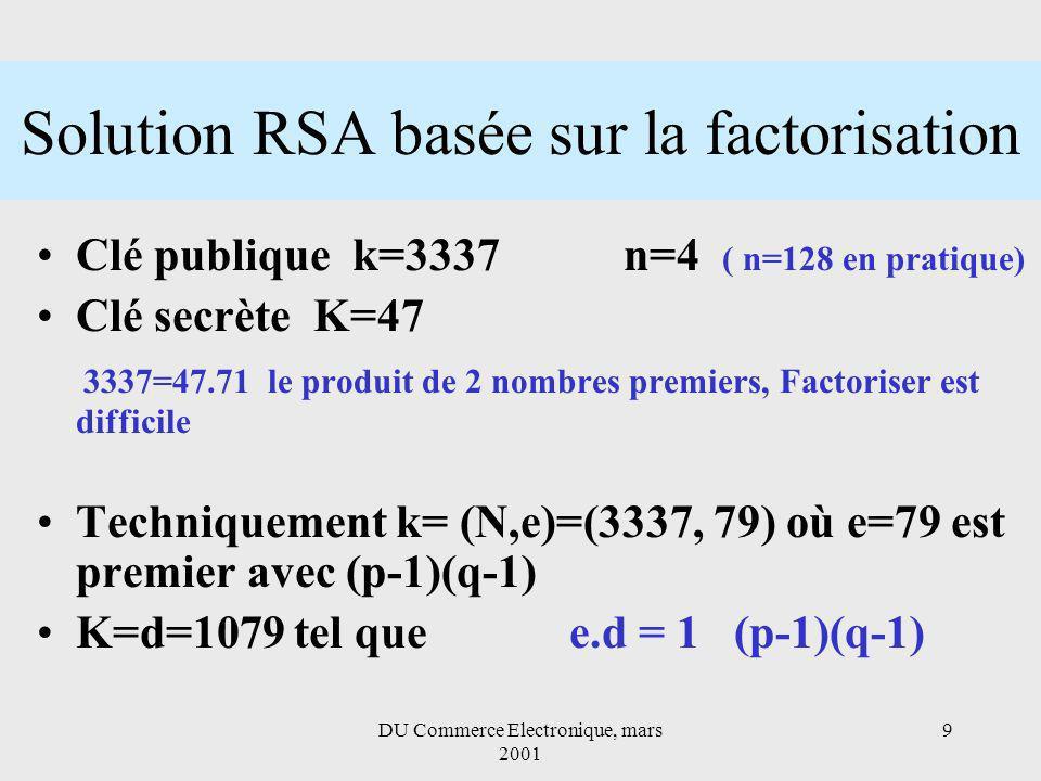 DU Commerce Electronique, mars 2001 9 Solution RSA basée sur la factorisation Clé publique k=3337 n=4 ( n=128 en pratique) Clé secrète K=47 3337=47.71 le produit de 2 nombres premiers, Factoriser est difficile Techniquement k= (N,e)=(3337, 79) où e=79 est premier avec (p-1)(q-1) K=d=1079 tel que e.d = 1 (p-1)(q-1)