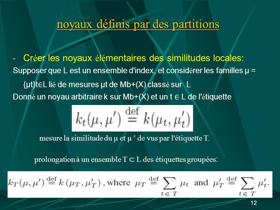 12 noyaux définis par des partitions - Cr é er les noyaux é l é mentaires des similitudes locales: Supposer que L est un ensemble d'index, et consid é