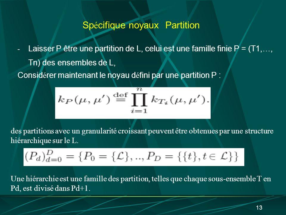 13 Sp é cifique noyaux Partition - Laisser P être une partition de L, celui est une famille finie P = (T1, …, Tn) des ensembles de L, Consid é rer mai