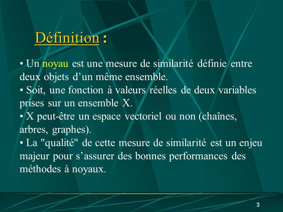 3 Définition : Un noyau est une mesure de similarité définie entre deux objets dun même ensemble. Soit, une fonction à valeurs réelles de deux variabl