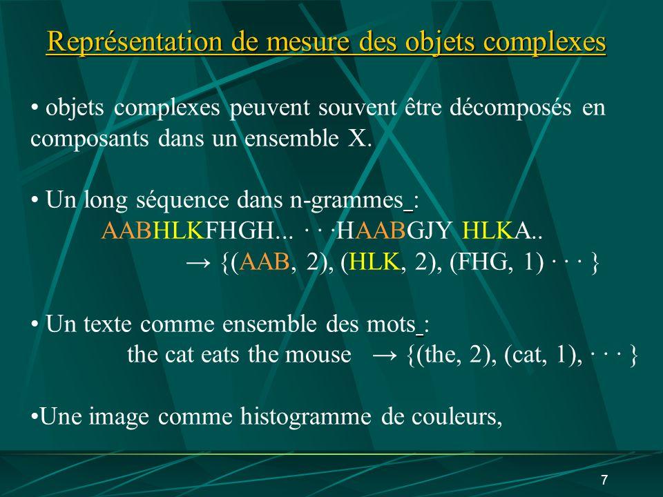 7 Représentation de mesure des objets complexes objets complexes peuvent souvent être décomposés en composants dans un ensemble X. Un long séquence da