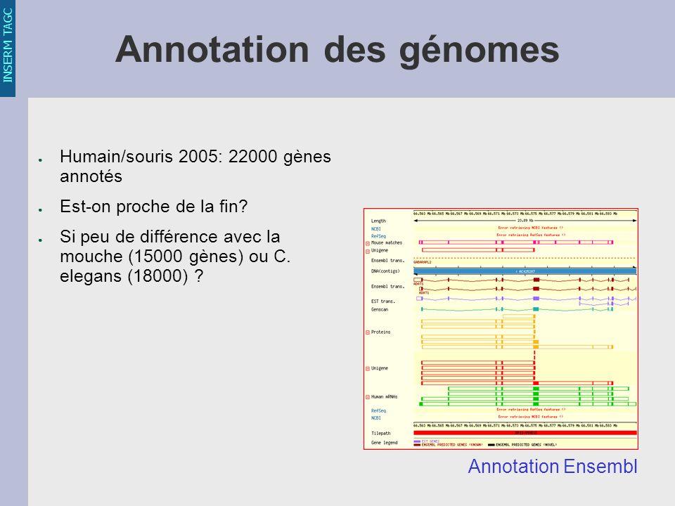INSERM TAGC Annotation des génomes Humain/souris 2005: 22000 gènes annotés Est-on proche de la fin.