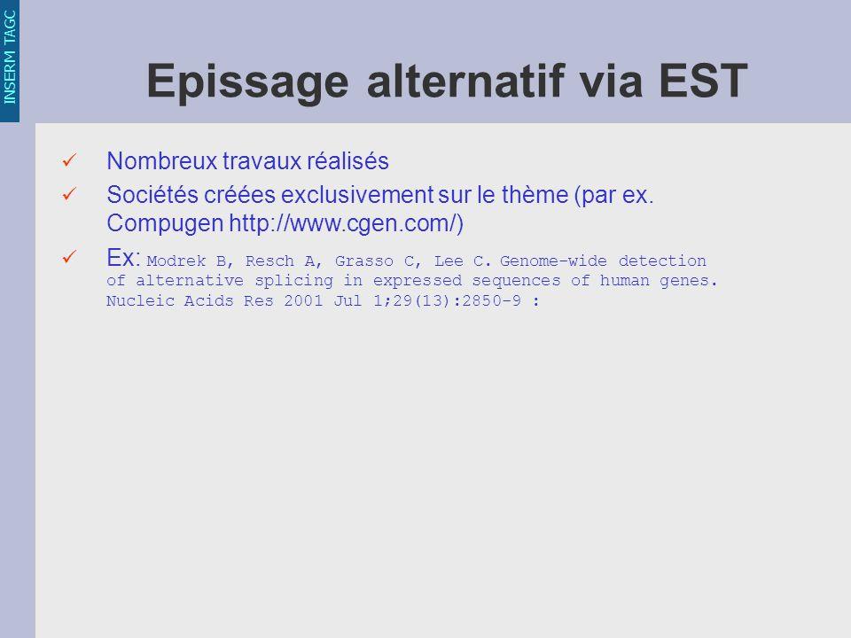INSERM TAGC Epissage alternatif via EST Nombreux travaux réalisés Sociétés créées exclusivement sur le thème (par ex.