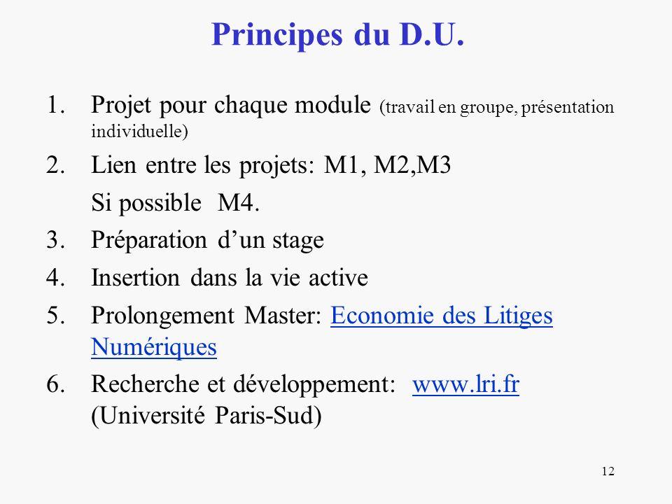 12 1.Projet pour chaque module (travail en groupe, présentation individuelle) 2.Lien entre les projets: M1, M2,M3 Si possible M4.