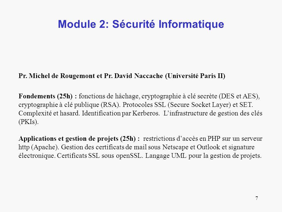 7 Module 2: Sécurité Informatique Pr.Michel de Rougemont et Pr.
