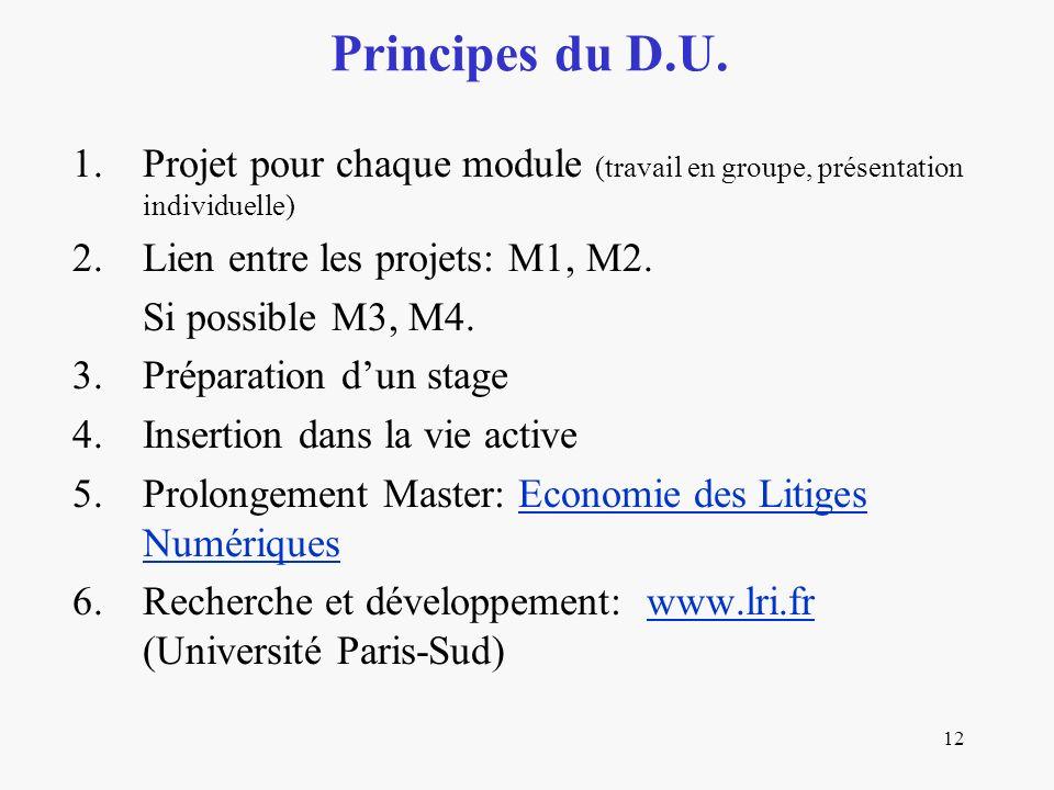 12 1.Projet pour chaque module (travail en groupe, présentation individuelle) 2.Lien entre les projets: M1, M2. Si possible M3, M4. 3.Préparation dun