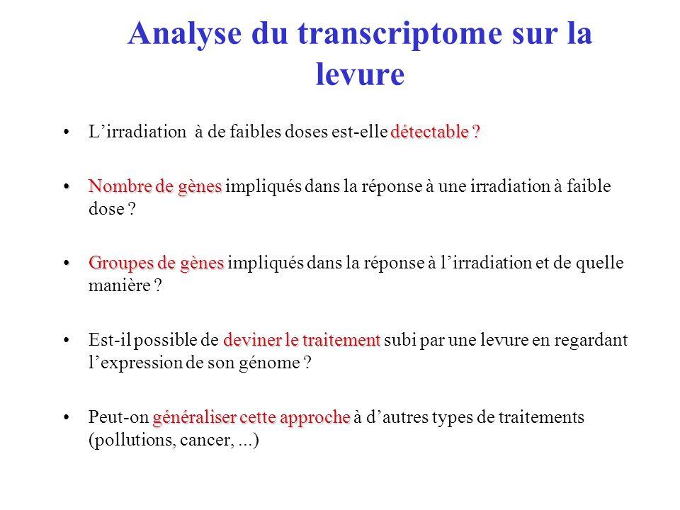 Analyse du transcriptome sur la levure détectable ?Lirradiation à de faibles doses est-elle détectable ? Nombre de gènesNombre de gènes impliqués dans