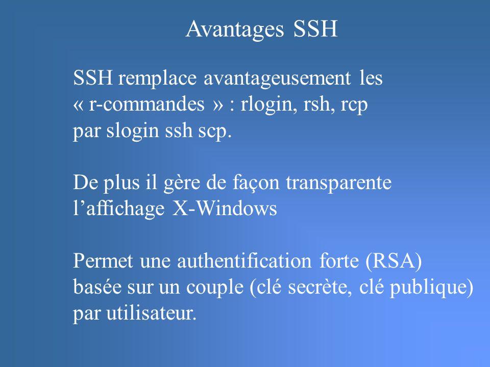 SSH remplace avantageusement les « r-commandes » : rlogin, rsh, rcp par slogin ssh scp.