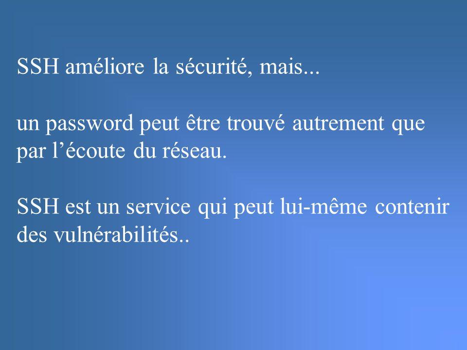 SSH améliore la sécurité, mais...un password peut être trouvé autrement que par lécoute du réseau.