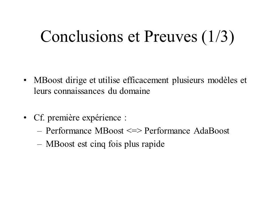 Conclusions et Preuves (1/3) MBoost dirige et utilise efficacement plusieurs modèles et leurs connaissances du domaine Cf.