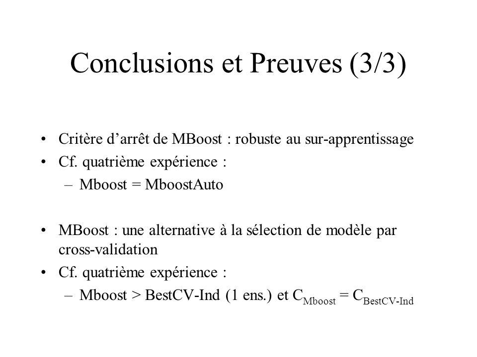 Conclusions et Preuves (3/3) Critère darrêt de MBoost : robuste au sur-apprentissage Cf.