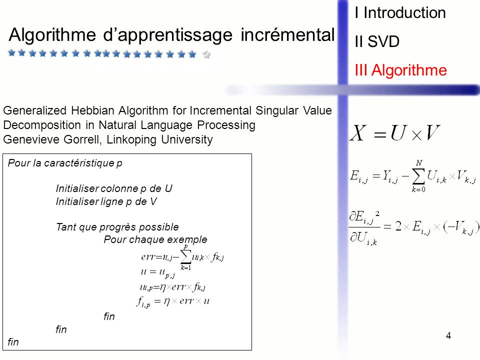 5 Implémentation I Introduction II SVD III Algorithme Fichiers binaires Données dapprentissage Jeu de test (10 MB) Modèle (20 MB) Nom des films 700 MB Accès difficile aux données dapprentissage Solution : apprentissage incrémental