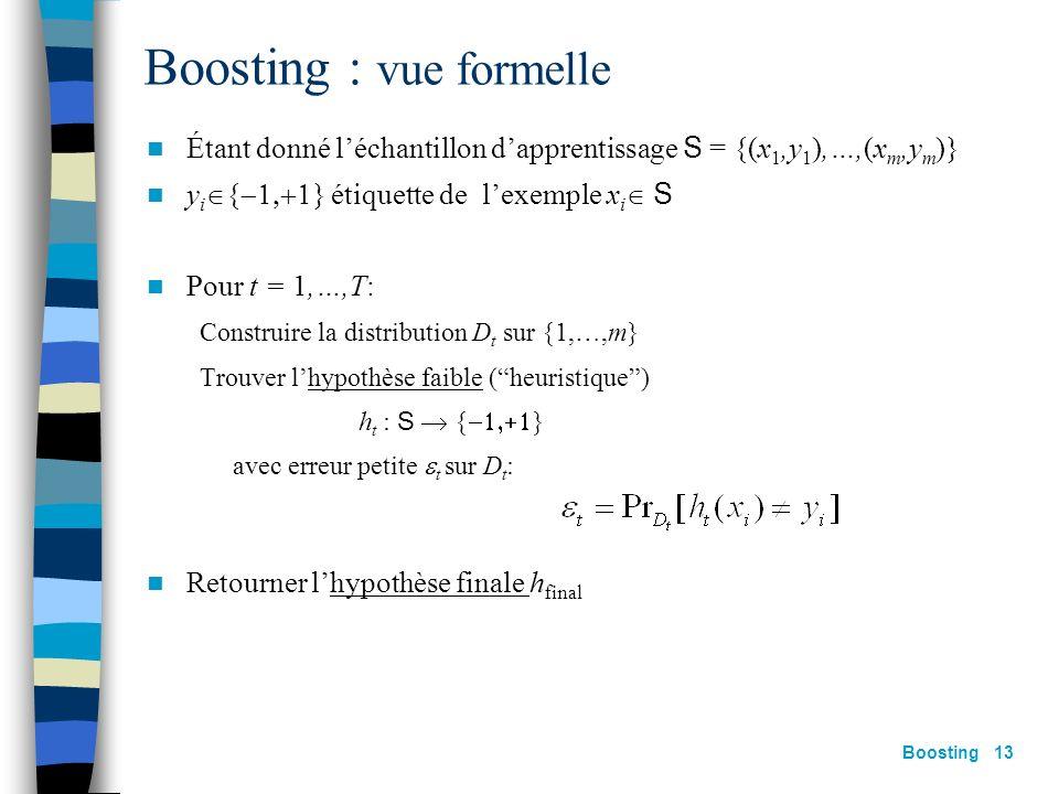 Boosting 12 Plan Introduction au boosting (AdaBoost) Expériences Conclusion Analyse de lerreur en apprentissage Analyse de lerreur en généralisation b