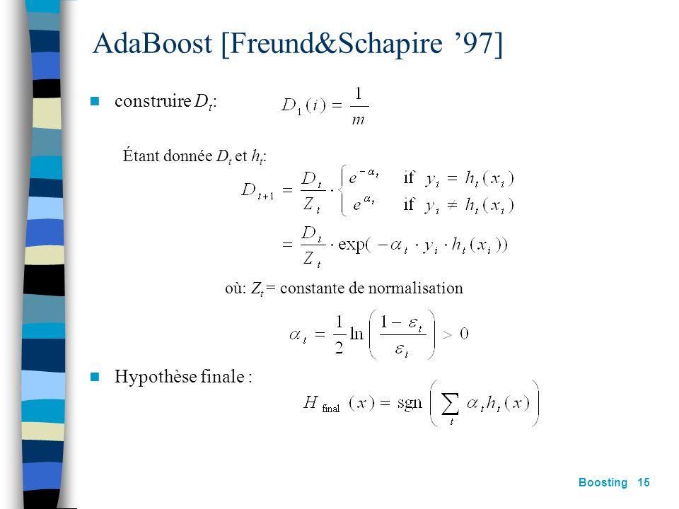 Boosting 14 Le principe général X h0h0 D0D0 X h1h1 D1D1 X h2h2 D2D2 X hThT DTDT Comment passer de D t à D t+1 ? Comment calculer la pondération t ?
