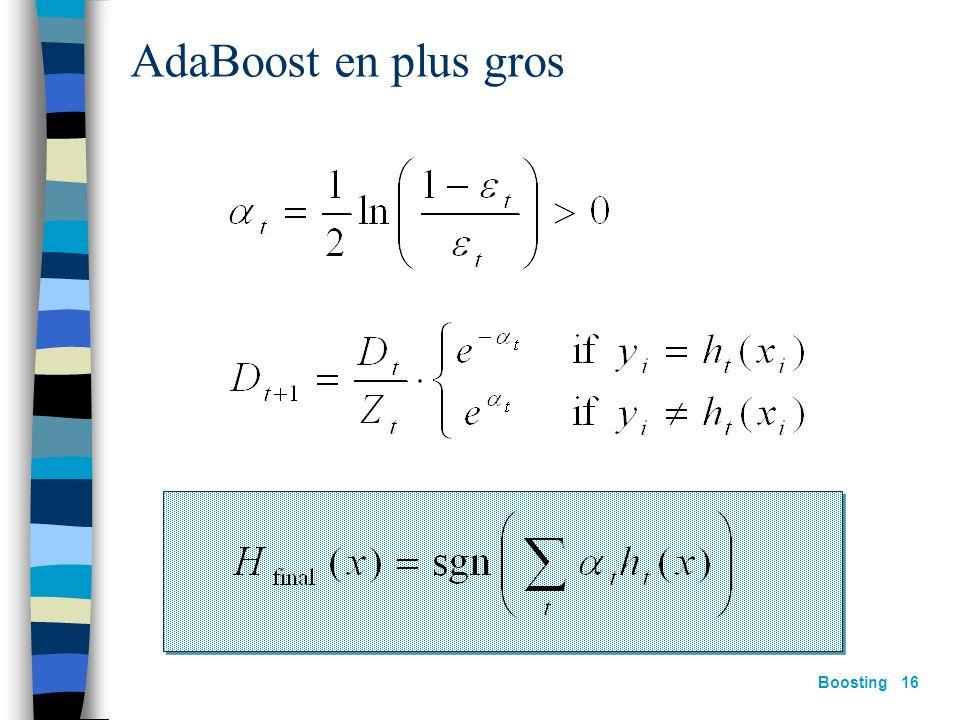 Boosting 15 AdaBoost [Freund&Schapire 97] construire D t : Étant donnée D t et h t : où: Z t = constante de normalisation Hypothèse finale :
