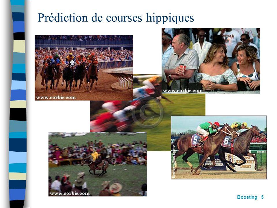 Boosting 4 Types dapprentissage Chaque expert apprend sur lensemble dapprentissage S m Utilisation de différents attributs (e.g. arbres de décisions,
