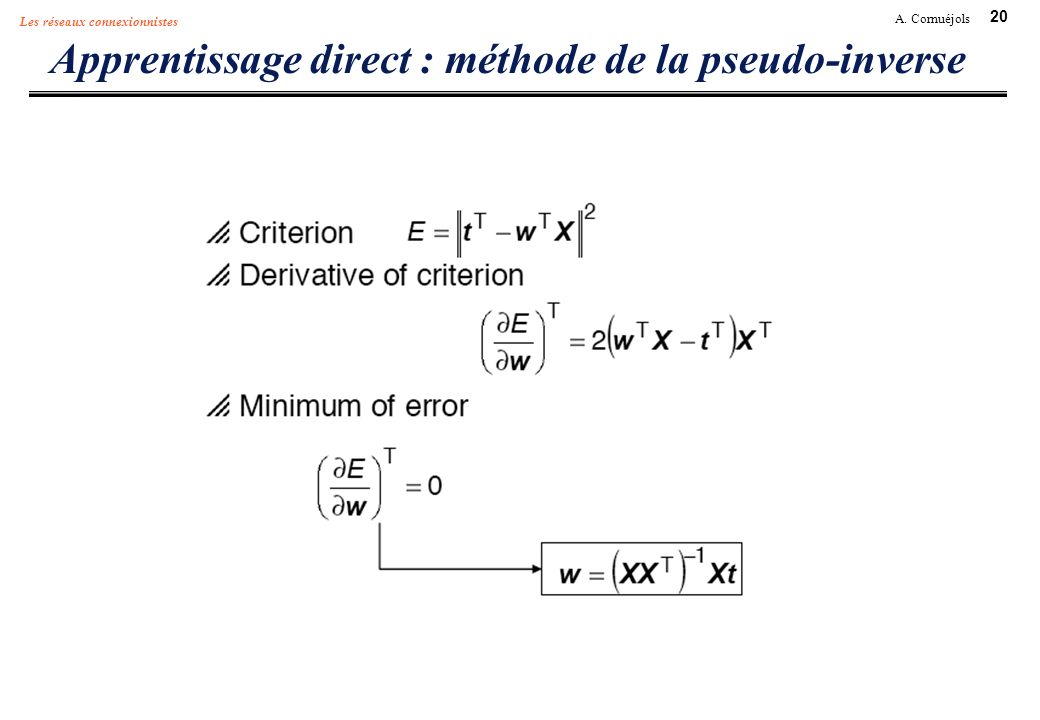 20 A. Cornuéjols Les réseaux connexionnistes Apprentissage direct : méthode de la pseudo-inverse