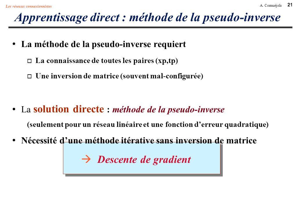 21 A. Cornuéjols Les réseaux connexionnistes Apprentissage direct : méthode de la pseudo-inverse La méthode de la pseudo-inverse requiert La connaissa
