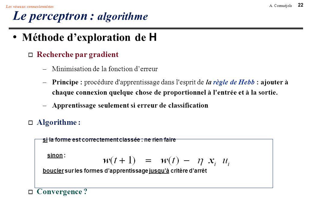 22 A. Cornuéjols Les réseaux connexionnistes Le perceptron : algorithme Méthode dexploration de H Recherche par gradient –Minimisation de la fonction