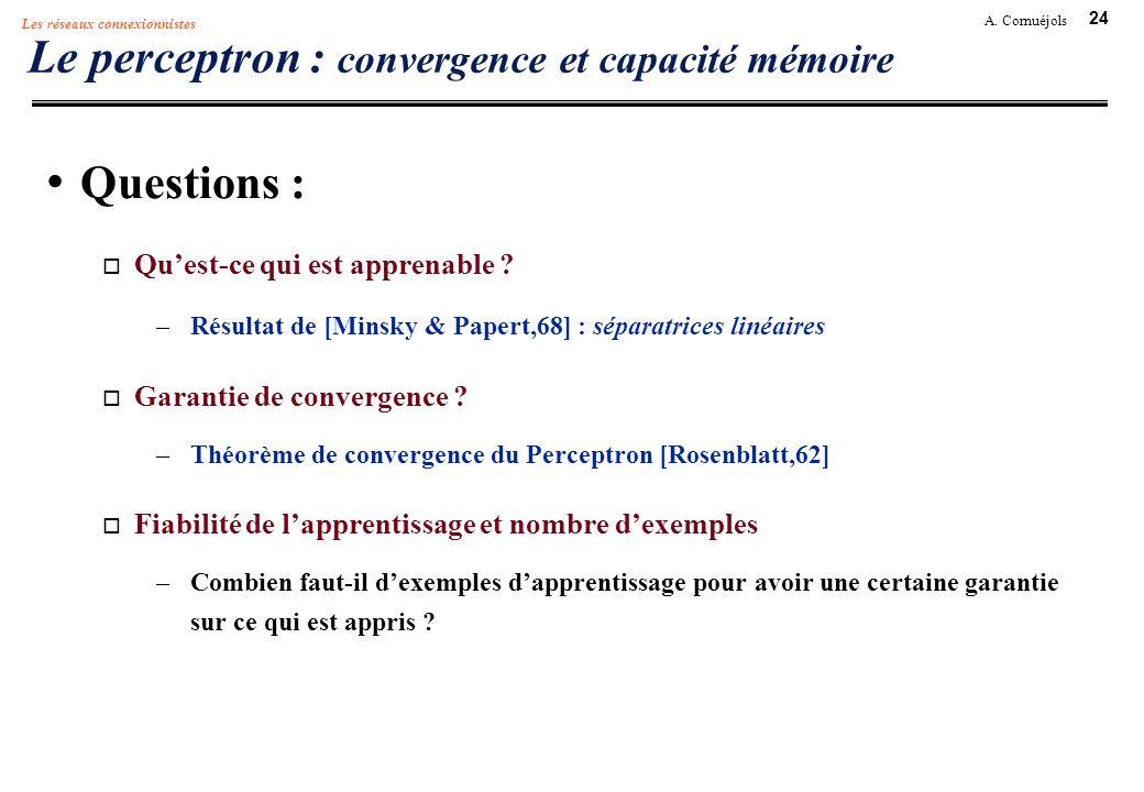 24 A. Cornuéjols Les réseaux connexionnistes Le perceptron : convergence et capacité mémoire Questions : Quest-ce qui est apprenable ? –Résultat de [M