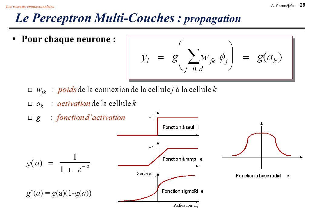 28 A. Cornuéjols Les réseaux connexionnistes Le Perceptron Multi-Couches : propagation Pour chaque neurone : poids w jk : poids de la connexion de la