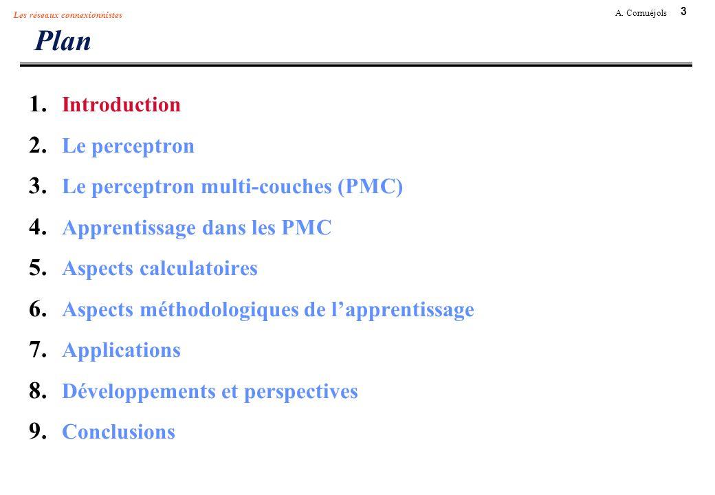 3 A. Cornuéjols Les réseaux connexionnistes Plan 1. Introduction 2. Le perceptron 3. Le perceptron multi-couches (PMC) 4. Apprentissage dans les PMC 5