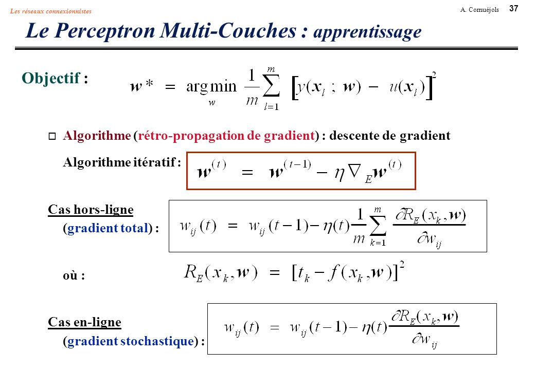 37 A. Cornuéjols Les réseaux connexionnistes Le Perceptron Multi-Couches : apprentissage Objectif : Algorithme (rétro-propagation de gradient) : desce