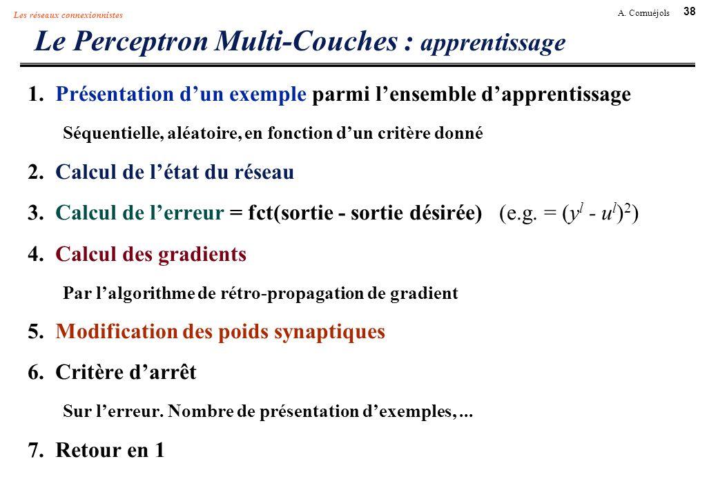 38 A. Cornuéjols Les réseaux connexionnistes Le Perceptron Multi-Couches : apprentissage 1. Présentation dun exemple parmi lensemble dapprentissage Sé