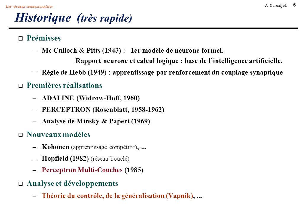 6 A. Cornuéjols Les réseaux connexionnistes Historique ( très rapide) Prémisses –Mc Culloch & Pitts (1943) : 1er modèle de neurone formel. Rapport neu
