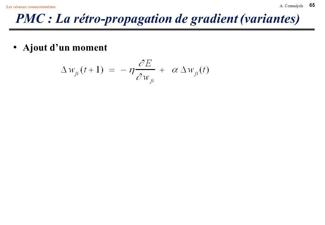 65 A. Cornuéjols Les réseaux connexionnistes PMC : La rétro-propagation de gradient (variantes) Ajout dun moment
