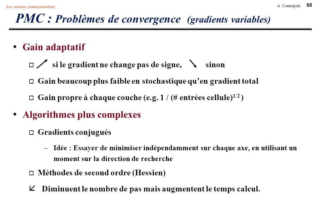 68 A. Cornuéjols Les réseaux connexionnistes PMC : Problèmes de convergence (gradients variables) Gain adaptatif si le gradient ne change pas de signe