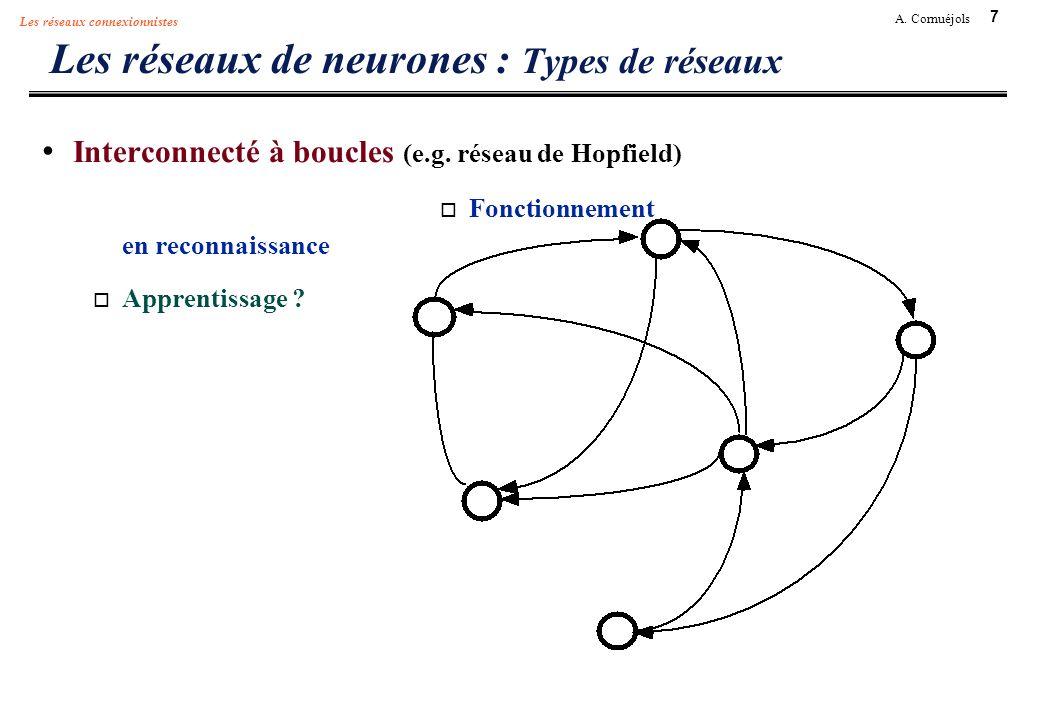 7 A. Cornuéjols Les réseaux connexionnistes Les réseaux de neurones : Types de réseaux Interconnecté à boucles (e.g. réseau de Hopfield) Fonctionnemen