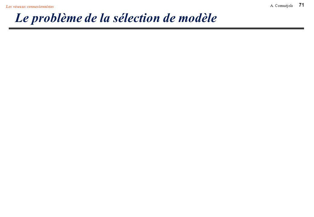 71 A. Cornuéjols Les réseaux connexionnistes Le problème de la sélection de modèle