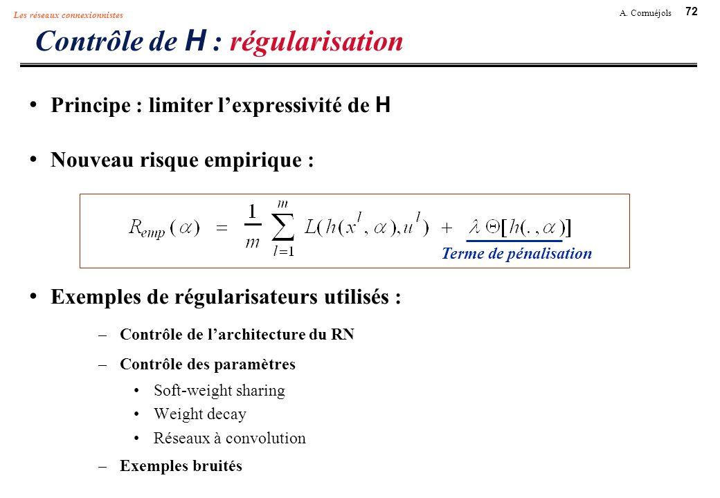 72 A. Cornuéjols Les réseaux connexionnistes Contrôle de H : régularisation Principe : limiter lexpressivité de H Nouveau risque empirique : Exemples