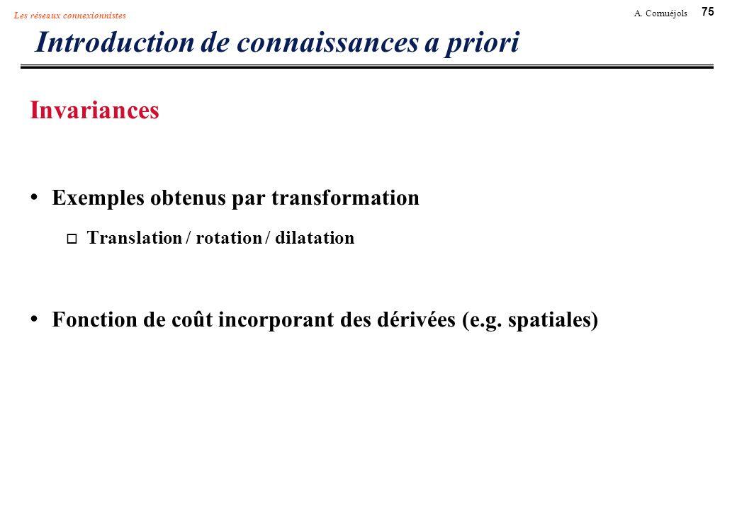 75 A. Cornuéjols Les réseaux connexionnistes Introduction de connaissances a priori Invariances Exemples obtenus par transformation Translation / rota