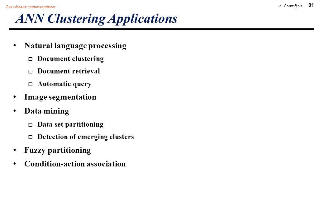 81 A. Cornuéjols Les réseaux connexionnistes ANN Clustering Applications Natural language processing Document clustering Document retrieval Automatic