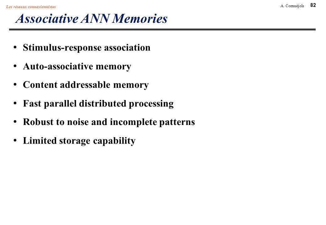 82 A. Cornuéjols Les réseaux connexionnistes Associative ANN Memories Stimulus-response association Auto-associative memory Content addressable memory