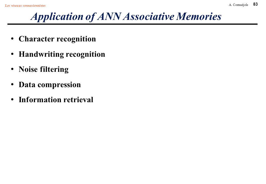 83 A. Cornuéjols Les réseaux connexionnistes Application of ANN Associative Memories Character recognition Handwriting recognition Noise filtering Dat