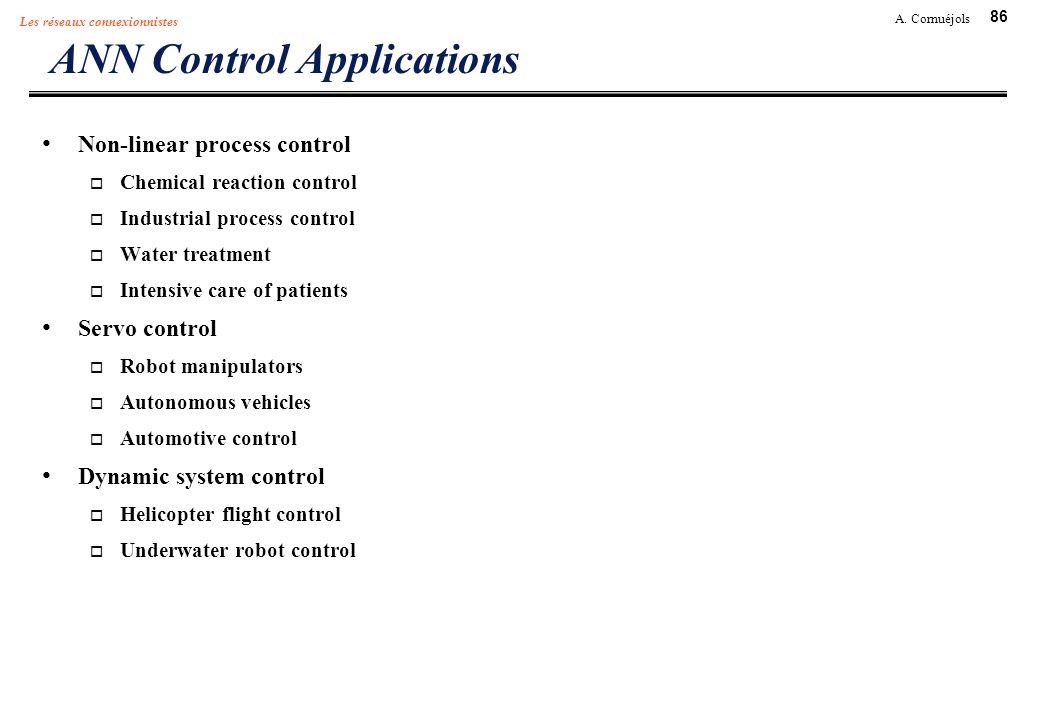 86 A. Cornuéjols Les réseaux connexionnistes ANN Control Applications Non-linear process control Chemical reaction control Industrial process control