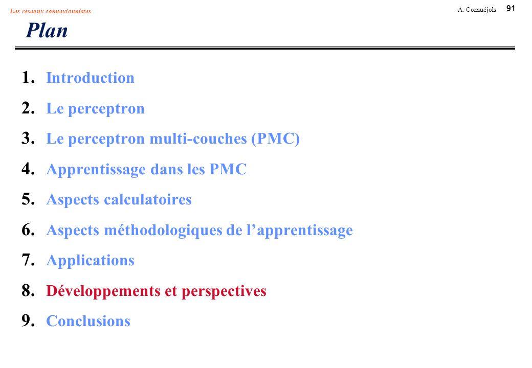 91 A. Cornuéjols Les réseaux connexionnistes Plan 1. Introduction 2. Le perceptron 3. Le perceptron multi-couches (PMC) 4. Apprentissage dans les PMC