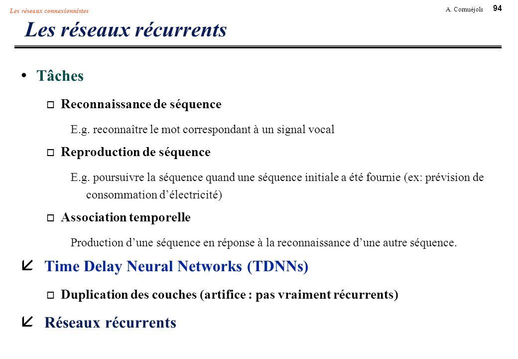 94 A. Cornuéjols Les réseaux connexionnistes Les réseaux récurrents Tâches Reconnaissance de séquence E.g. reconnaître le mot correspondant à un signa