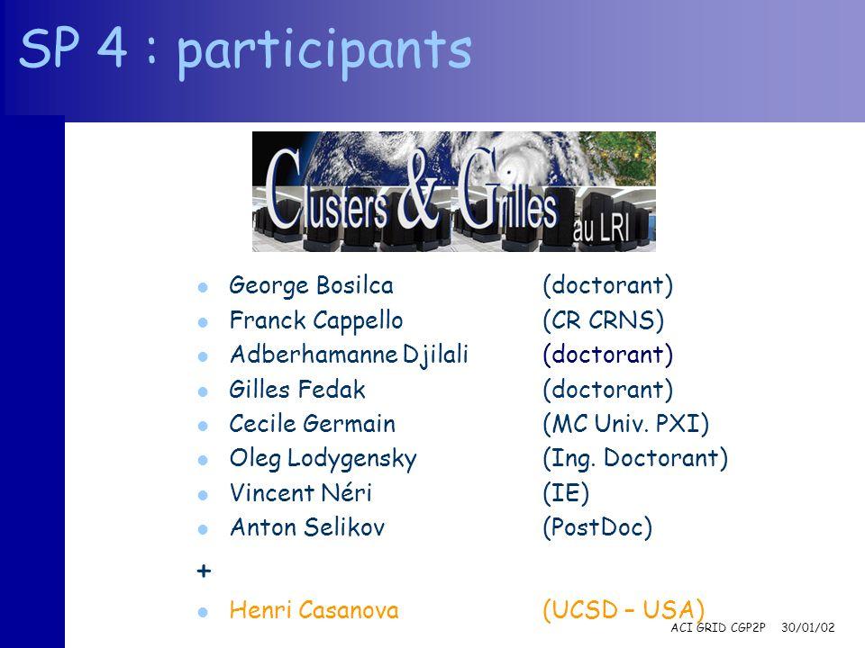 ACI GRID CGP2P 30/01/02 SP 4 : participants l George Bosilca(doctorant) l Franck Cappello(CR CRNS) l Adberhamanne Djilali(doctorant) l Gilles Fedak(do