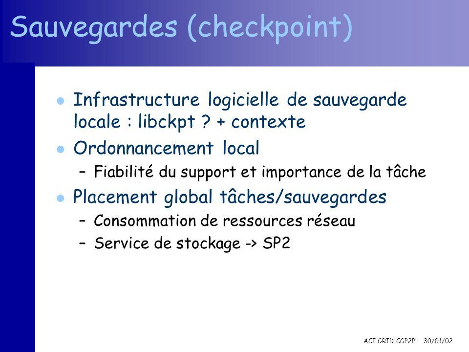 ACI GRID CGP2P 30/01/02 Sauvegardes (checkpoint) l Infrastructure logicielle de sauvegarde locale : libckpt ? + contexte l Ordonnancement local –Fiabi