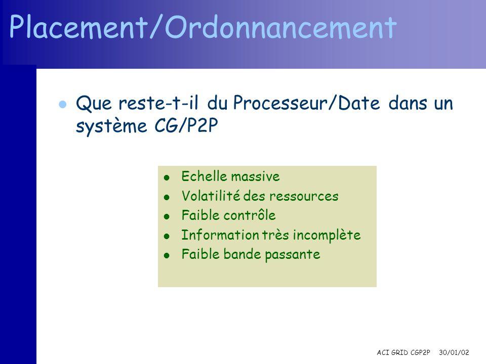 ACI GRID CGP2P 30/01/02 Placement/Ordonnancement l Que reste-t-il du Processeur/Date dans un système CG/P2P l Echelle massive l Volatilité des ressources l Faible contrôle l Information très incomplète l Faible bande passante
