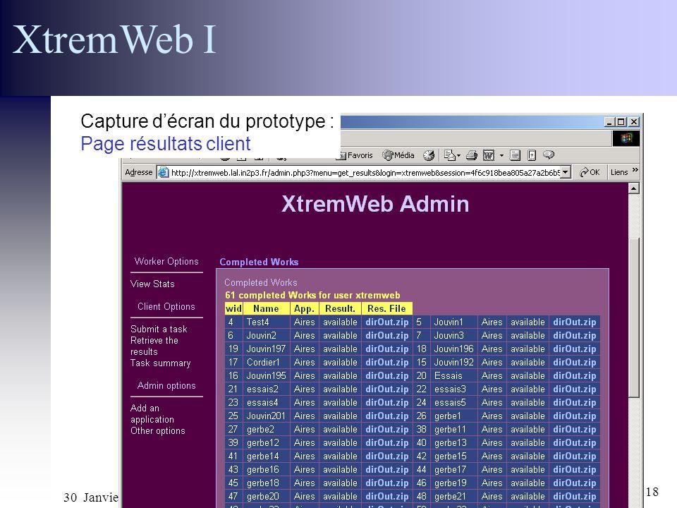 30 Janvier 2002 Réunion ACI GRID CGP2P18 XtremWeb I Capture décran du prototype : Page résultats client