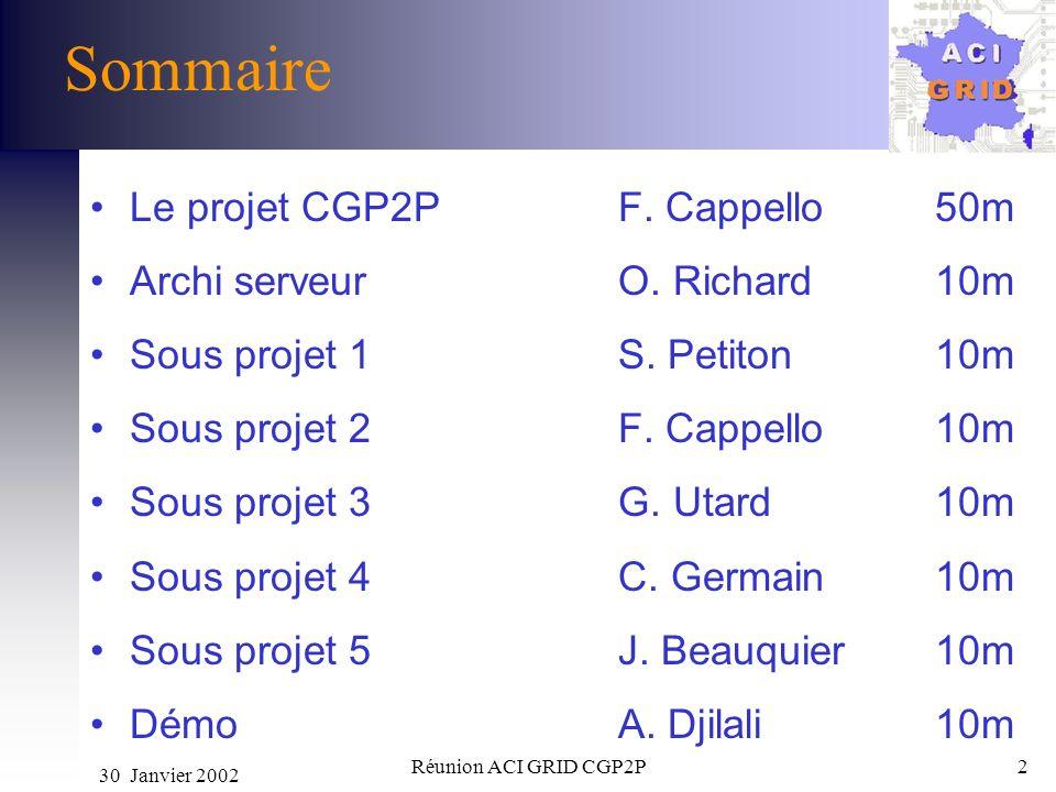 30 Janvier 2002 Réunion ACI GRID CGP2P2 Sommaire Le projet CGP2P F. Cappello 50m Archi serveurO. Richard10m Sous projet 1S. Petiton 10m Sous projet 2F