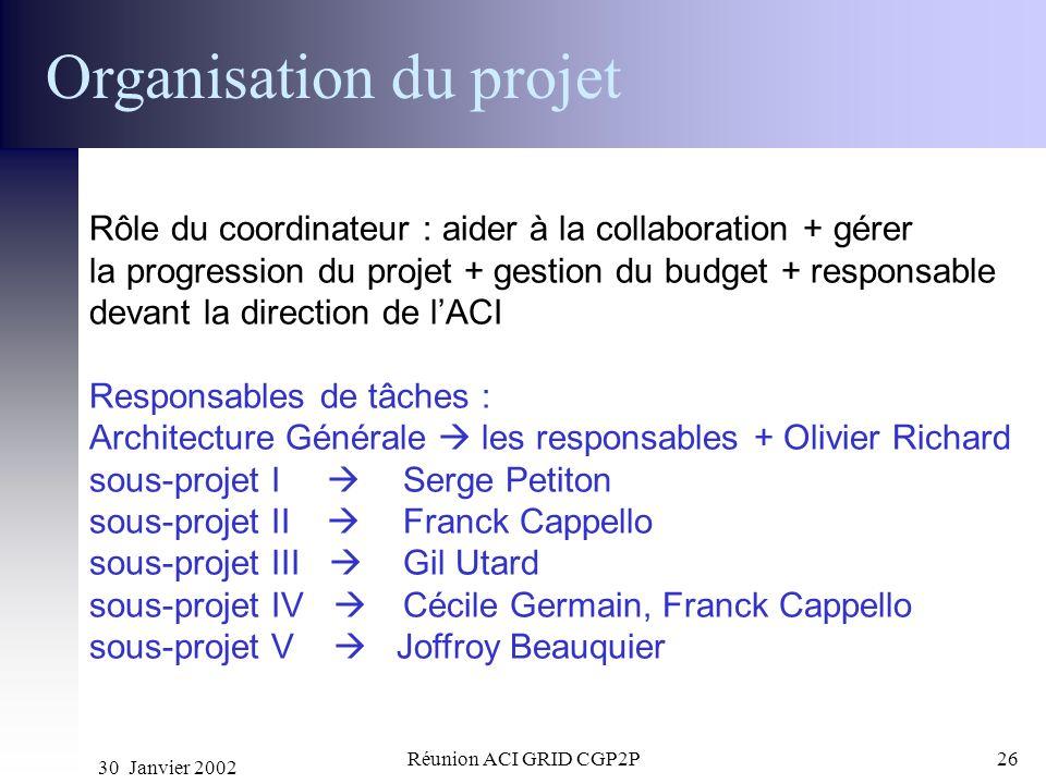 30 Janvier 2002 Réunion ACI GRID CGP2P26 Organisation du projet Rôle du coordinateur : aider à la collaboration + gérer la progression du projet + ges