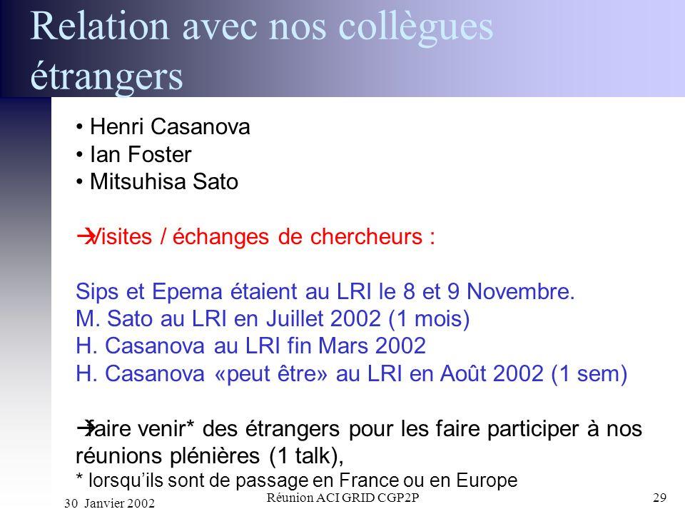 30 Janvier 2002 Réunion ACI GRID CGP2P29 Relation avec nos collègues étrangers Henri Casanova Ian Foster Mitsuhisa Sato Visites / échanges de chercheu