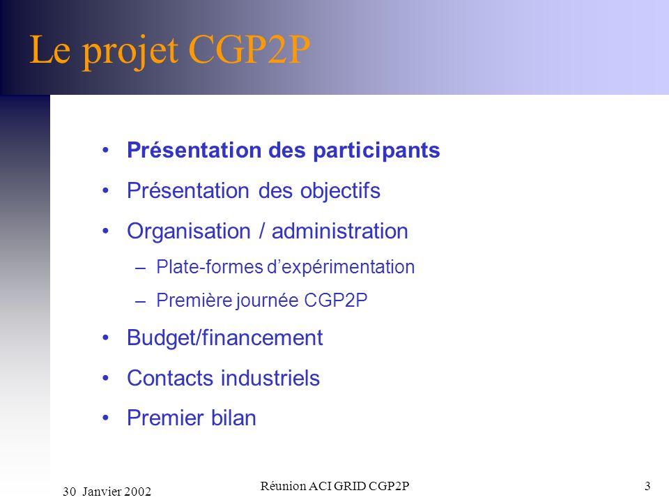 30 Janvier 2002 Réunion ACI GRID CGP2P3 Le projet CGP2P Présentation des participants Présentation des objectifs Organisation / administration –Plate-