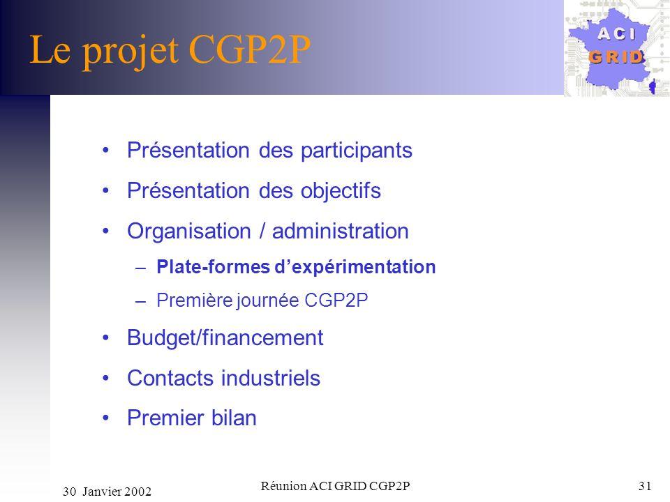 30 Janvier 2002 Réunion ACI GRID CGP2P31 Le projet CGP2P Présentation des participants Présentation des objectifs Organisation / administration –Plate